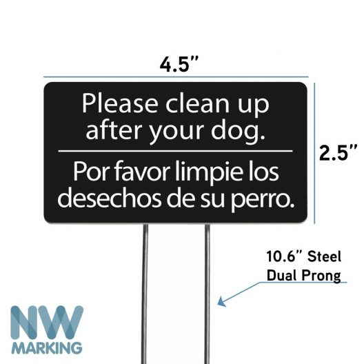 NW Marking Please Clean Up After Your Dog bilingual yard sign